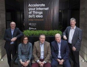 IoTUK Boost organisers L-R: Paul Egan (IoTUK), Jude McCorry (The Data Lab), Mark Begbie (CENSIS), Ian Reid (CENSIS), Alan Settery (Informatics Ventures)